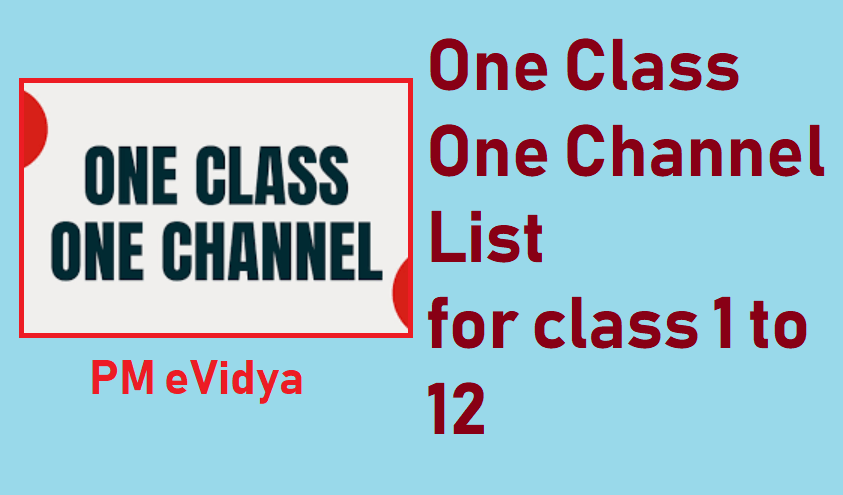 One Class One Channel List in Hindi
