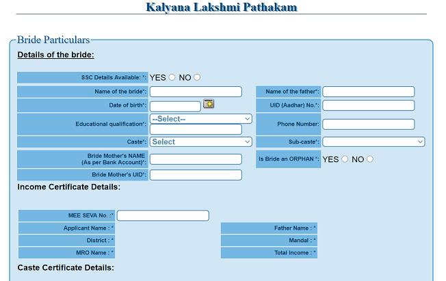 Kalyana Lakshmi online