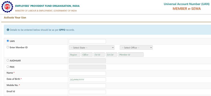 EPFO UAN Registration