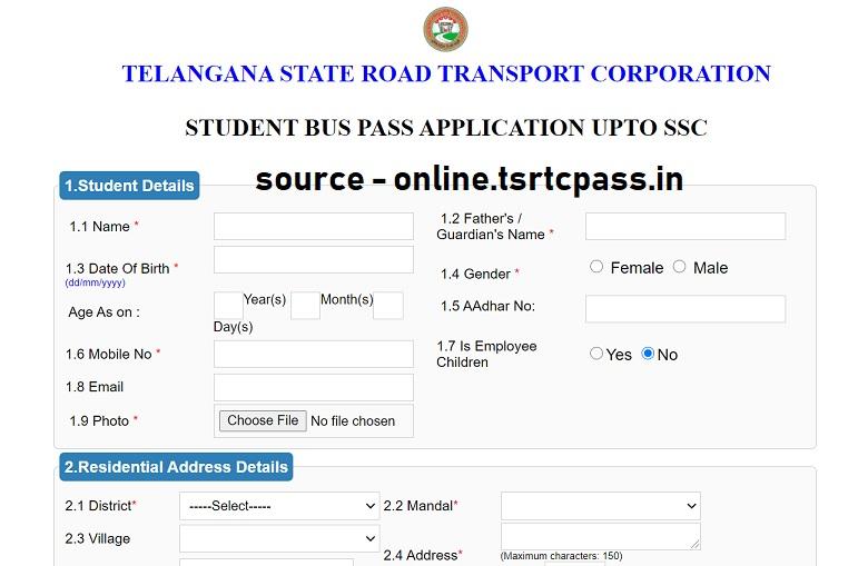 Telangana Bus Pass Form