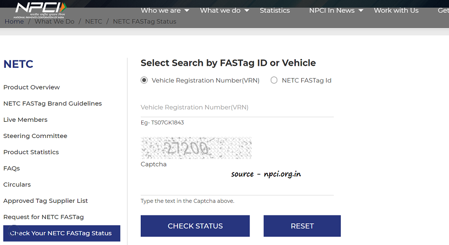 NETC FASTag Status Check